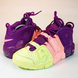 NEW Nike Air More Uptempo GS Citron Pink Purple
